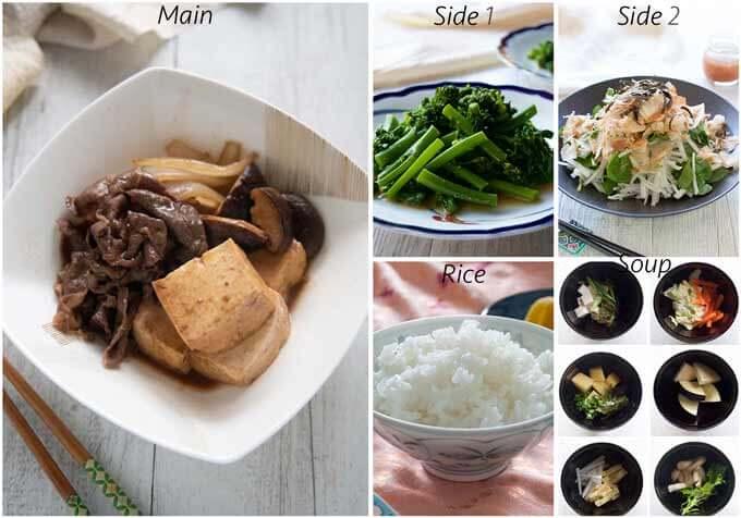 Meal idea with Simmered Beef and Tofu (Niku Dōfu).