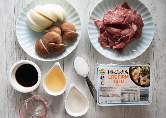 Ingredients for Simmered Beef and Tofu (Niku Dōfu).