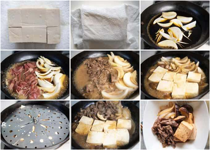 Step-by-step of making Simmered Beef and Tofu (Niku Dōfu)..