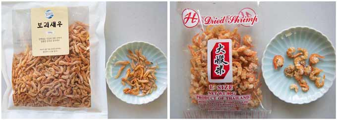 Showing meaty dried shrimp and paper-thin dried shrimp.