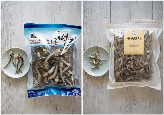 Two different sizes of dried anchovies.