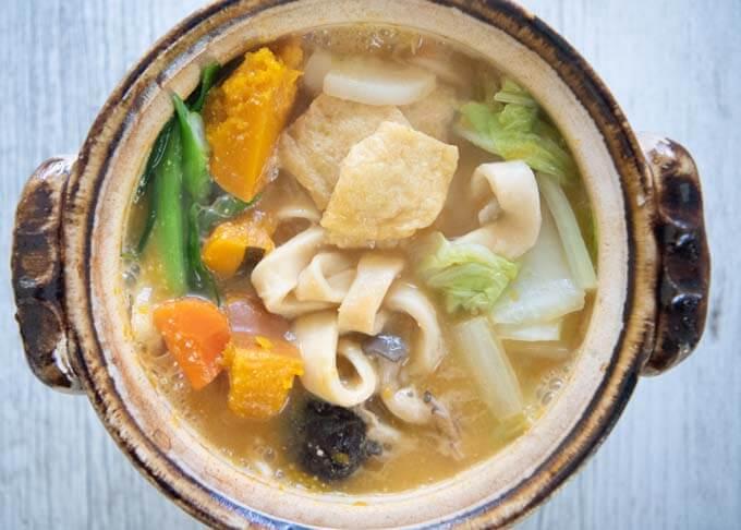 Top-down photo of Hōtō Noodle Soup.