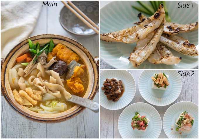 Meal idea with Hōtō Noodle Soup (Hōtō Nabe).