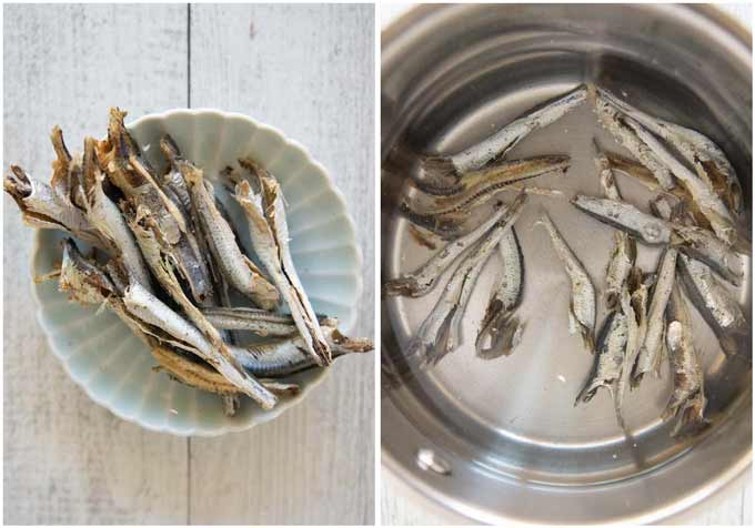 Showing niboshi (dried anchovies) after removing the heads and guts and niboshi soaked in water to get dashi.