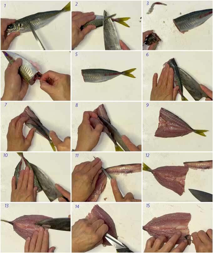 Step-by-step photo of how to fillet horse mackerel in the sebiraki method.