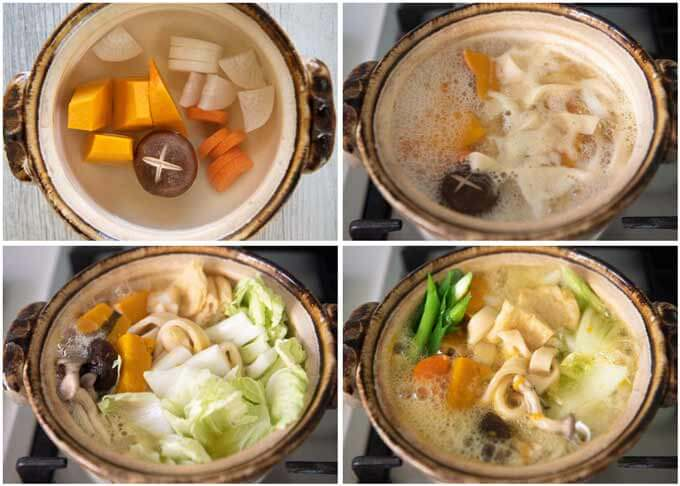 Step-by-step photo of cooking Hōtō Noodle Soup.