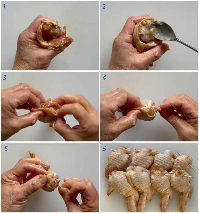 Step-by-step photo of stuffing a wingette for a Chicken Wing Gyōza.