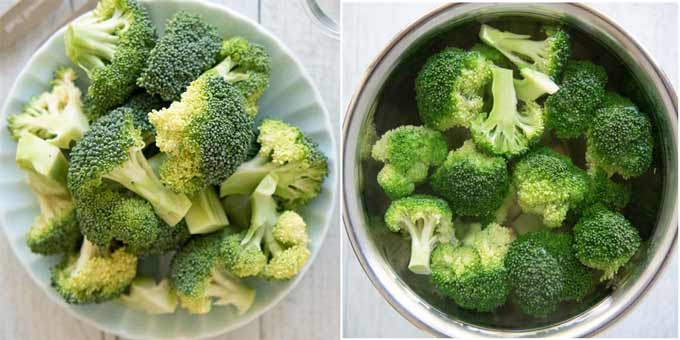 The green colour of broccoli before and after blanching.