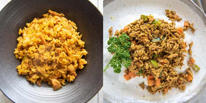 Two types of Japanese Dry Curry.