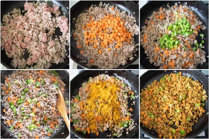 Step-by-step photo of making Japanese Dry Curry.