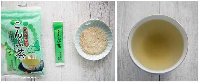 Konbucha pack, powder inside the sachet, and Konbu Cha (tea).