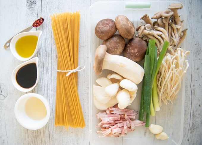 Ingredients for Wafū Mushroom Pasta.