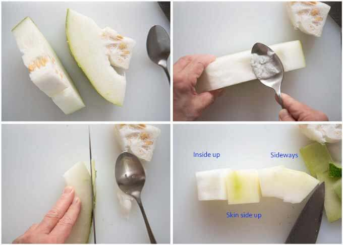 Showing how to cut winter melon into cubes.