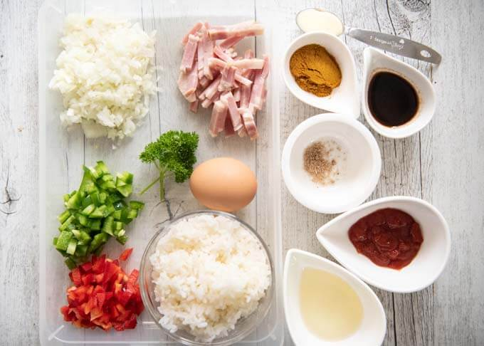 Ingredients for Japanese Curry Fried Rice.