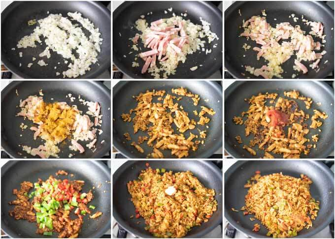 Step-by-step photo of making Curry Fried Rice.