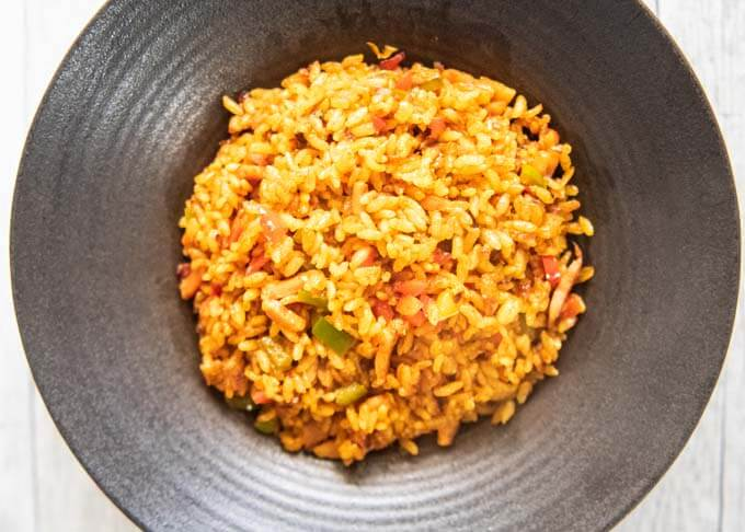 Top-down photo of Japanese Curry Fried Rice with no toppings.