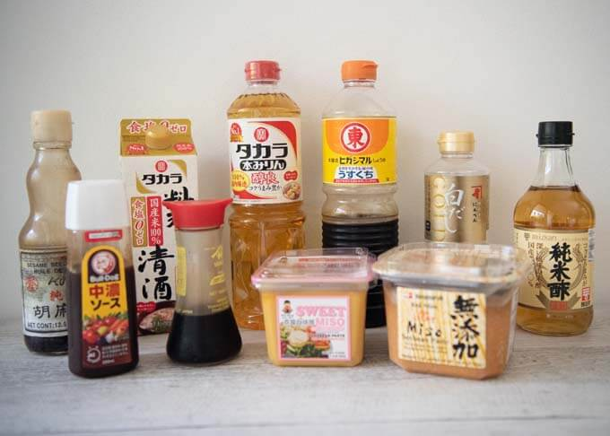 Collection of some pantry essentials for Japanese home cooking.