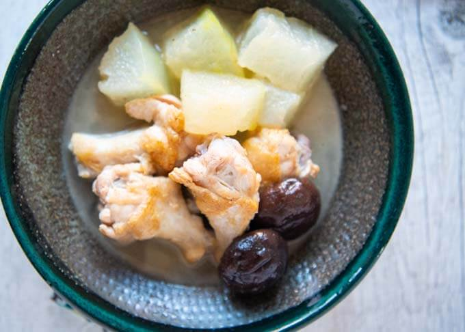 Top-down photo of Simmered Winter Melon with Drumettes.