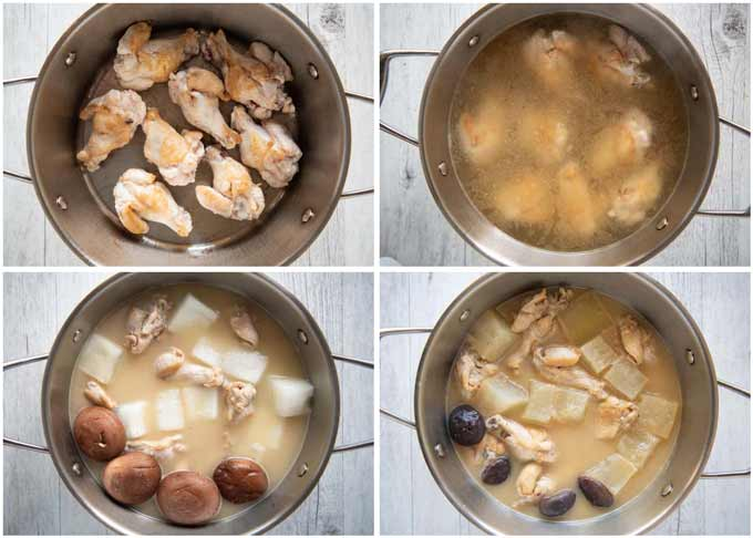 Step-by-step photo oa making Simmered Winter Melon with Drumettes.