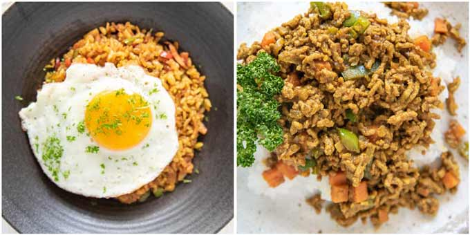 Showing two types of Dry Curry - Japanese Curry Fried Rice and Dry Curry. with ground meat.
